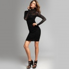 Sophisticated Super-Sexy Elegant Open Back Lace Dress - Black (Size M)