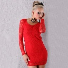 Christmas New Year Sophisticated Super-Sexy Elegant Open Back Lace Dress - Red (Size M)