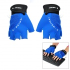 Stylish USB Heated Half-Finger Warm Gloves - Blue (Pair)