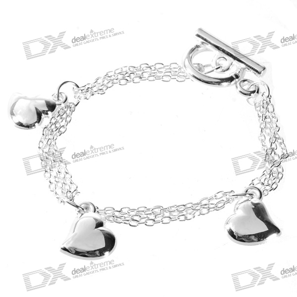 925 Sterling Silver Plated Hearts Bracelet (17cm)