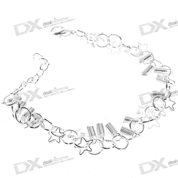 925 Sterling Silver Plated Springs and Stars Bracelet (18.5cm) sterling silver ear thread
