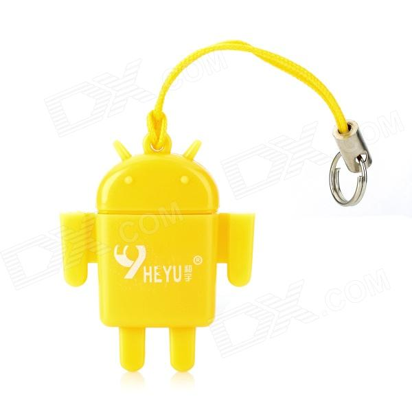 Android Robot Doll Style USB 2.0 TF Card Reader - Yellow