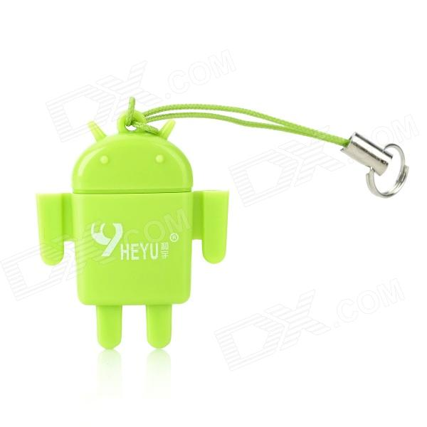 Android Robot Doll Style USB 2.0 TF Card Reader - Green