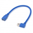 Right-Angle USB 3.0 Male to USB 3.0 Female Extension Cable - Blue (20cm)