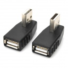 USB Male to Left-Angle / Right-Angle Female USB Adapters - Black (2 PCS)