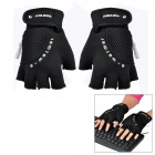 Stylish USB Heated Half-Finger Warm Gloves - Black (Pair)