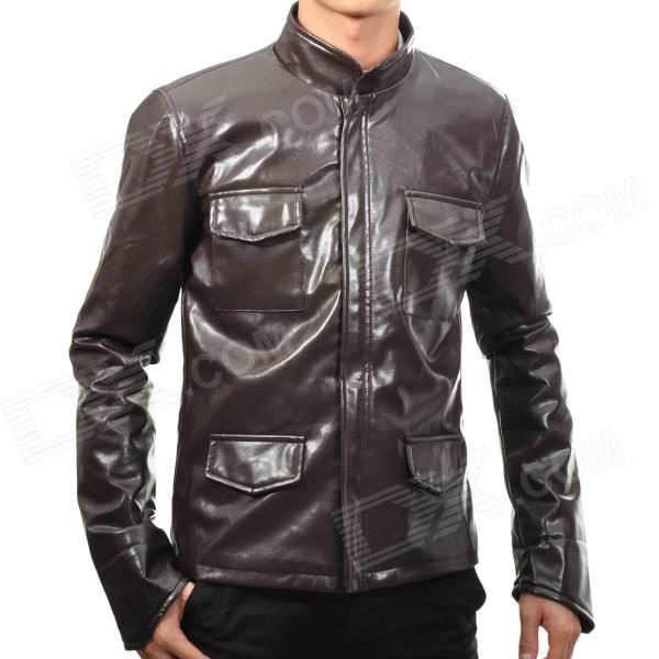 Men's Fashion PU Leather Outwear Coat - Brown (Size XL)