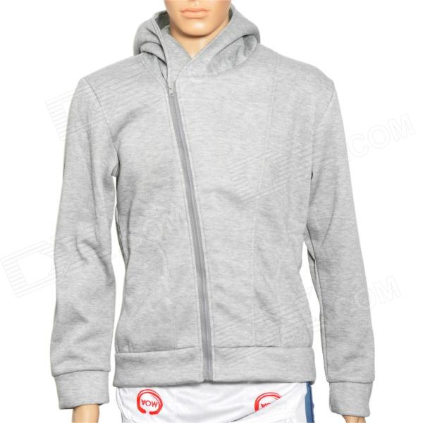 Men's Causal Oblique Zipper Cotton Warmer Coat - Grey (Size XL)