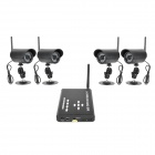 Digital Wireless 2.4GHZ 4CH Quad Wireless CMOS Surveillance Camera w/ 28-LED Night Vision - Black