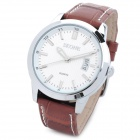 SKONE SK09127 Men's Fashion Business Leather Band Quartz Analog Wrist Watch - Brown + White