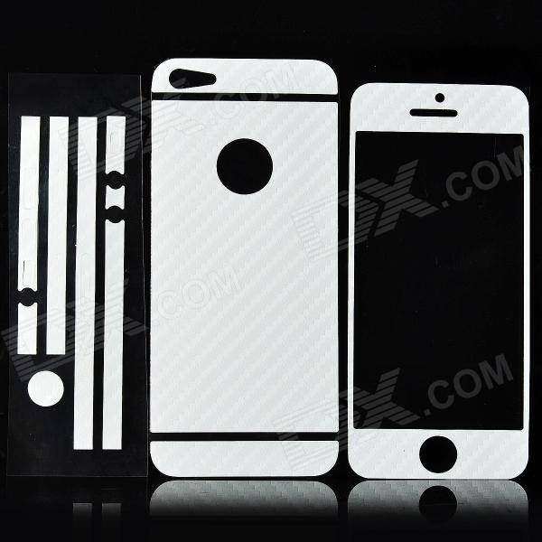 ISME Carbon Fiber Grain Full Housing Decoration Paper Stickers for Iphone 5 - White isme shining full housing decoration paper stickers for iphone 5 pink