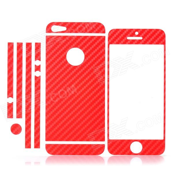 ISME Carbon Fiber Grain Full Housing Decoration Paper Sticker for Iphone 5 - Red isme shining full housing decoration paper stickers for iphone 5 pink