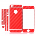 ISME Carbon Fiber Grain Full Housing Decoration Paper Sticker for iPhone 5 - Red