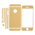 ISME Carbon Fiber Full Housing Decoration Paper Sticker for iPhone 5 - Golden