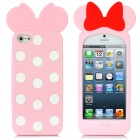 Bowknot Style Polka Dot Pattern Protective Silicone Case for iPhone 5 - Pink + Red