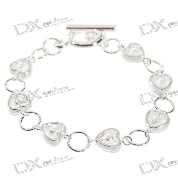 925 Sterling Silver Plated Hearts Bracelet (17.5cm) sterling silver ear thread