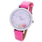 Fashion 3D Rose Decoration Inside Dial Plate Quartz Analog Wrist Watch for Women - Pink