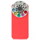 Protective Back Case w/ 10 Special Lenses & Filter Turret Set for iPhone 5 - Red