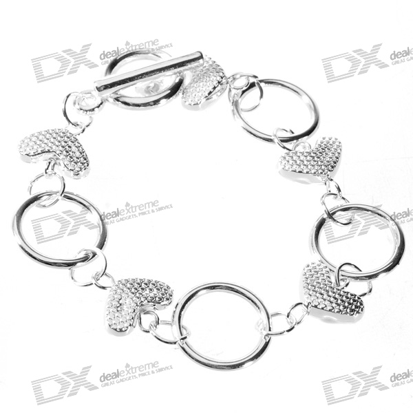 925 Sterling Silver Plated Hearts and Rings Bracelet (17.5cm) sterling silver ear thread