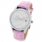 SKONE SK79164S Cute Lady's Leather Band Quartz Analog Wrist Watch - Pink + White