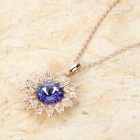KCCHSTAR BK-3133 Elegant 18K Gold Plated Alloy Crystal Sunflower Pendant Necklace - Golden + Purple