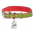 Cute Heart Pattern PU Pet Dog Collar w/ Bear Pendant - Light Oliver Green