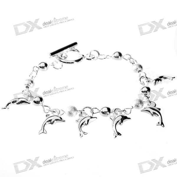 925 Sterling Silver Plated Dolphins Bracelet (18cm) sterling silver ear thread
