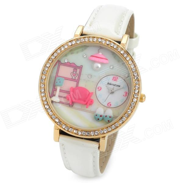 Women's Snug Room Dial PU Band Quartz Analog Wrist Watch - White + Golden (1 x 377)
