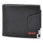 BOVIS 8019#1 Men's Leisure Short Snap-button PU Wallet Purse - Black