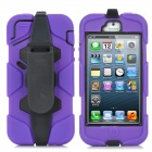 Cool Robot Style Full Protection Protective Case w/ Clip for iPhone 5 - Purple + Black