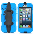 Cool Robot Style Full Protection Protective Case w/ Clip for iPhone 5 - Blue + Black