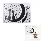Jiaming JM8256 Cat Lover in Moonlight Pattern PVC Papier Sticker - White + Black (50 x 70cm)