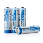 1.2V 800mAh AA NiMH Rechargeable Batteries - white + Blue (4 PCS)