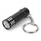 Mini Aluminum 3-LED White Flashlight with Keychain - Black (3 x LR44)