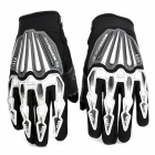 Scoyco A008-XL Sporty Full-Finger Motorcycle Riding Gloves - Black + Silver (Pair / Size XL)
