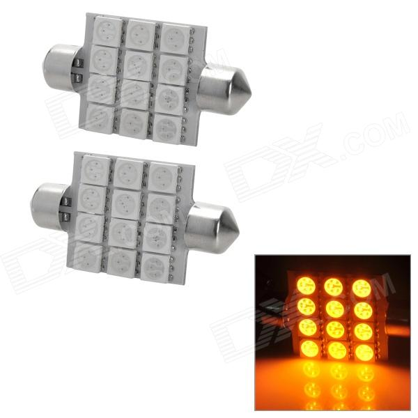Festoon 41mm 2.16W 240lm 12-5050 SMD Yellow LED Car Reading / Interior / Door Lamps (2 PCS / 12V)