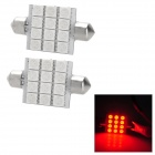 Festoon 41mm 2.16W 240lm 12-5050 SMD Red LED Car Reading / Interior / Door Light Lamps (2 PCS / 12V)