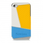 Newtons Contrast Color Design Protective PC Back Case for Iphone 4 / 4S - White + Yellow + Blue