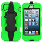 Protective Detachable PC + Silicone Case w/ Clip for iPhone 5 - Green + Black