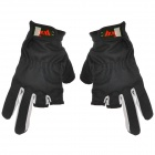 Outdoor 3-Fingerless Anti-Slip Fishing Gloves - Black + Grey (Pair)