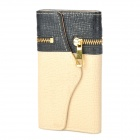 Fashion Protective PU Flip-Open Wallet Case w/ Magnet + Card Slot for Iphone 5 - Black + Beige