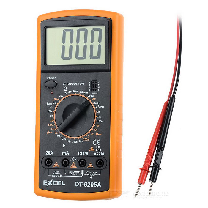 Excel DT9205A 3 LCD Digital Multimeter - Black + Orange (1 x 6F22) мультиметр fuke dt9205a ac dc lcd dt9205a