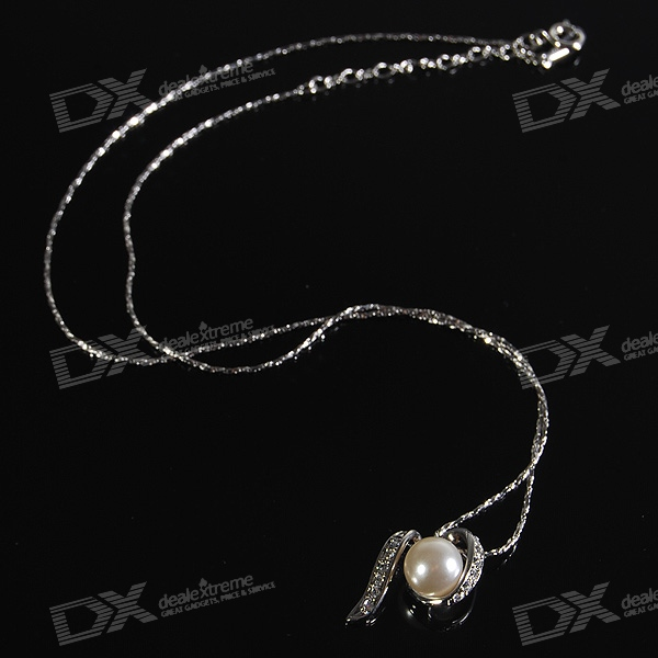Crystals + Pearl 925 Silver Plated Necklace (22cm)