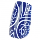 French Style 24-in-1 Flower Pattern Long Artificial Nail Set w/ Glue - Deep Blue + Golden