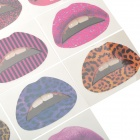 Stripe Pattern Rubber Tattoo Lips Stickers (10 PCS)