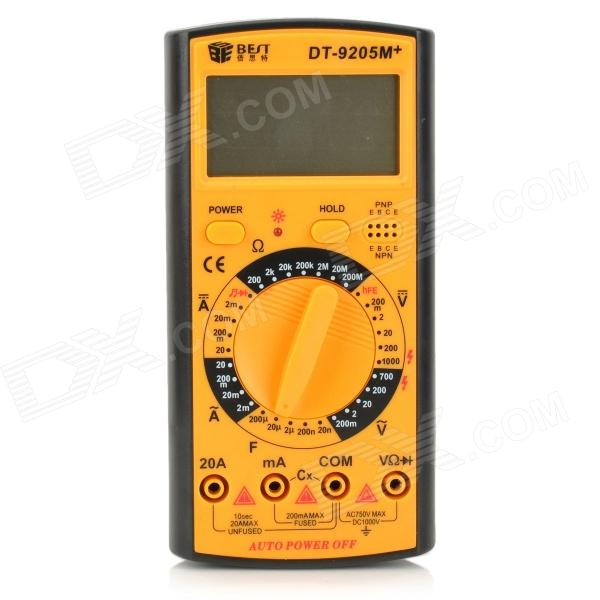 BEST DT-9205M+ 2.6 LCD Digital Multimeter - Black + Reddish Orange dt 830b 1 8 lcd digital multimeter 1 x 6f22 9v battery