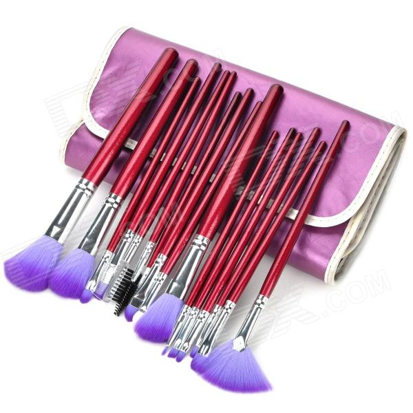 Professional Fiber Cosmetic Makeup Brushes Set w/ PU Bag - Purple (16 PCS) make up for you portable cosmetic makeup 7 in 1 brushes set purple