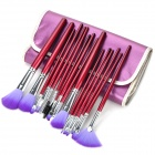 Professional Fiber Cosmetic Makeup Brushes Set w/ PU Bag - Purple (16 PCS)