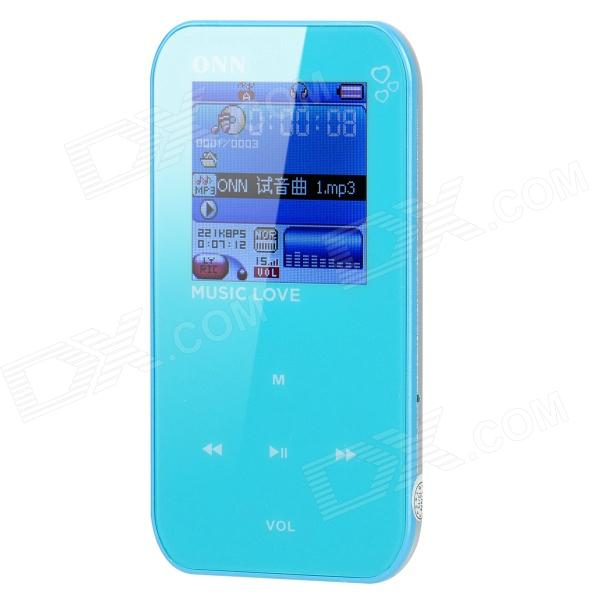 ONN Q2 Ultra-Slim Sporting 1.5 Screen MP4 Player w/ FM - Blue (4GB) onn q6 mini 1 5 screen mp3 player w fm clip silver 4gb