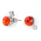 MaDouGongZhu R079 Venus and Mars Symbol Style Ear Studs w/ Rhinestone - Red + Silver (Pair)